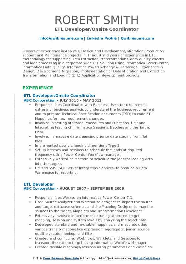 ETL Developer/Onsite Coordinator Resume Example