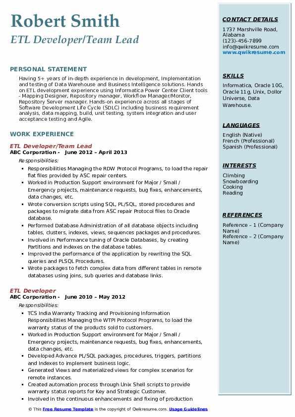 ETL Developer/Team Lead Resume Sample