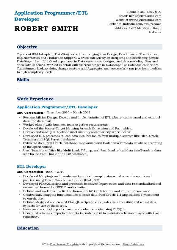 Application Programmer/ETL Developer Resume Model