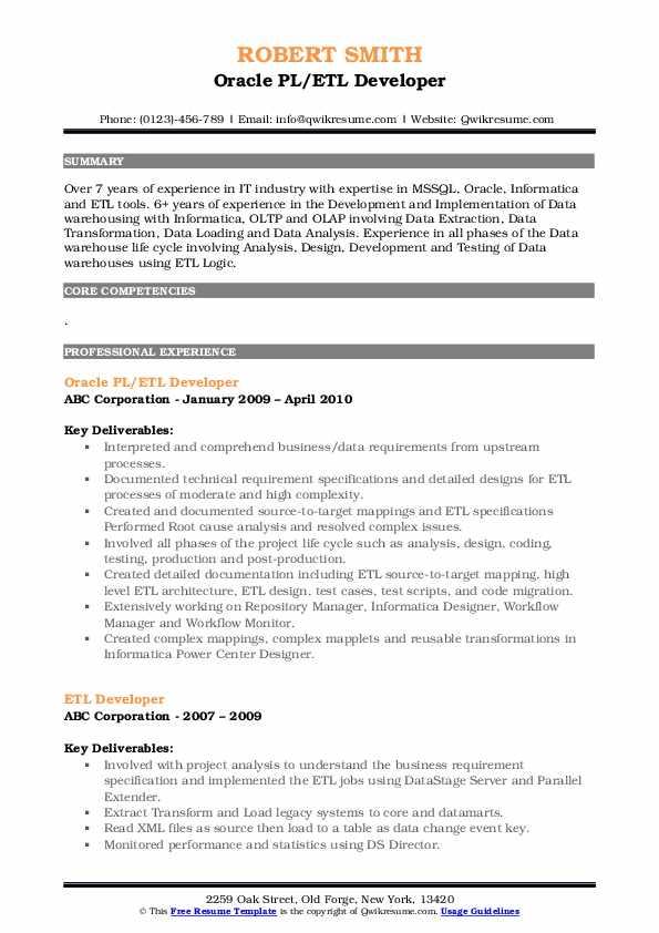 Oracle PL/ETL Developer Resume Template