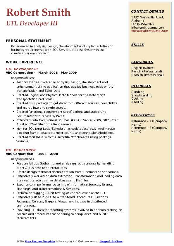 etl developer resume samples