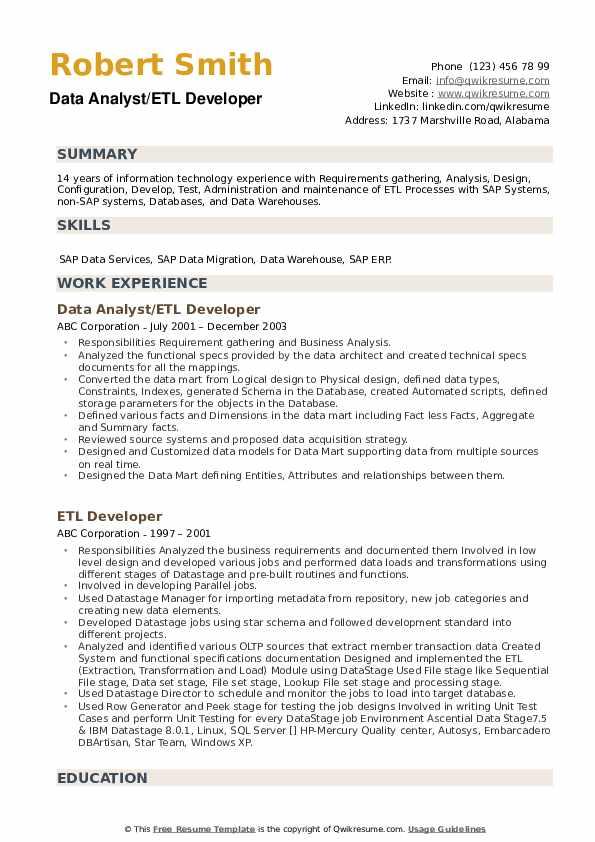 Data Analyst/ETL Developer Resume Format