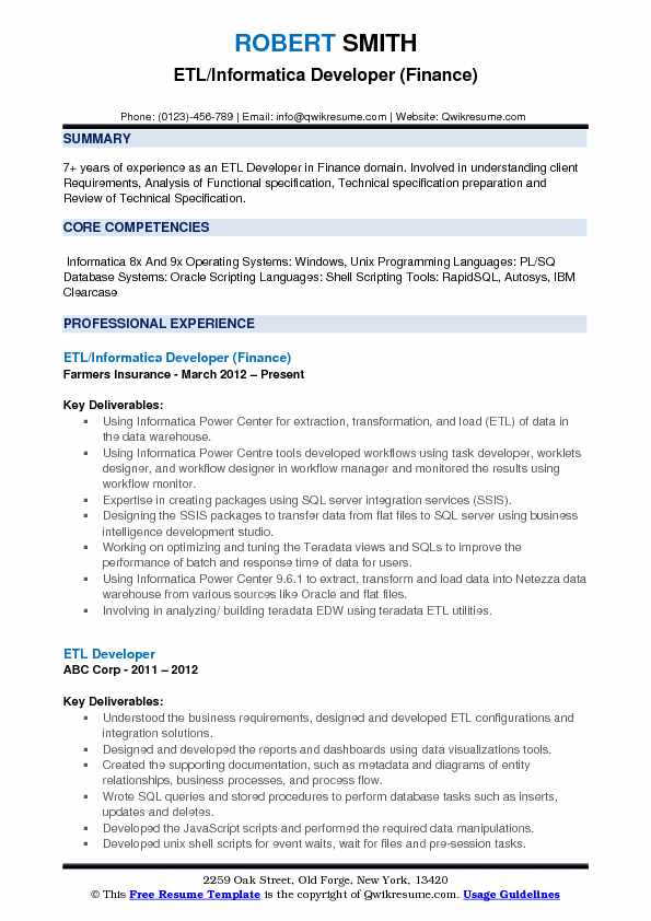 etl informatica developer resume samples