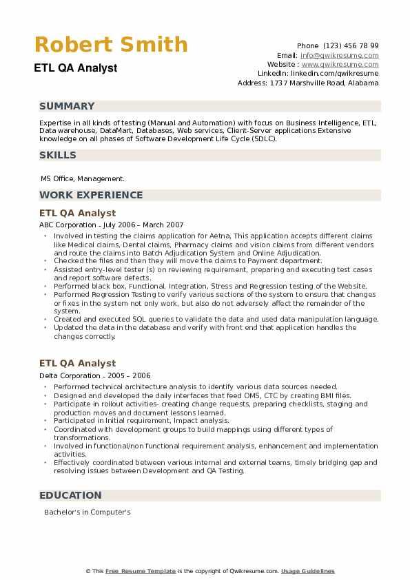 ETL QA Analyst Resume example