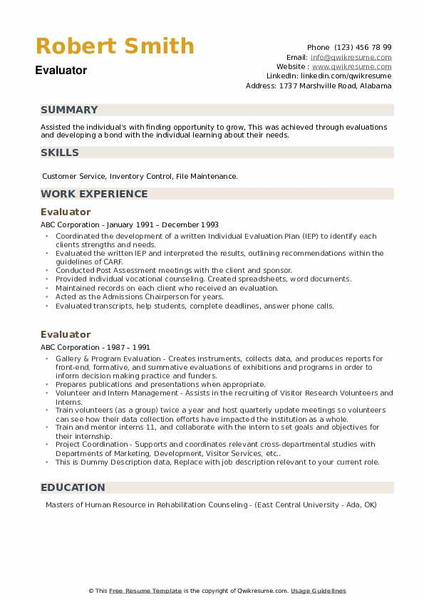 Evaluator Resume example