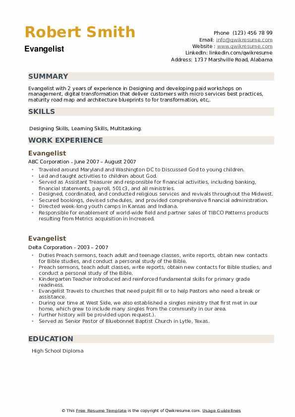 Evangelist Resume example