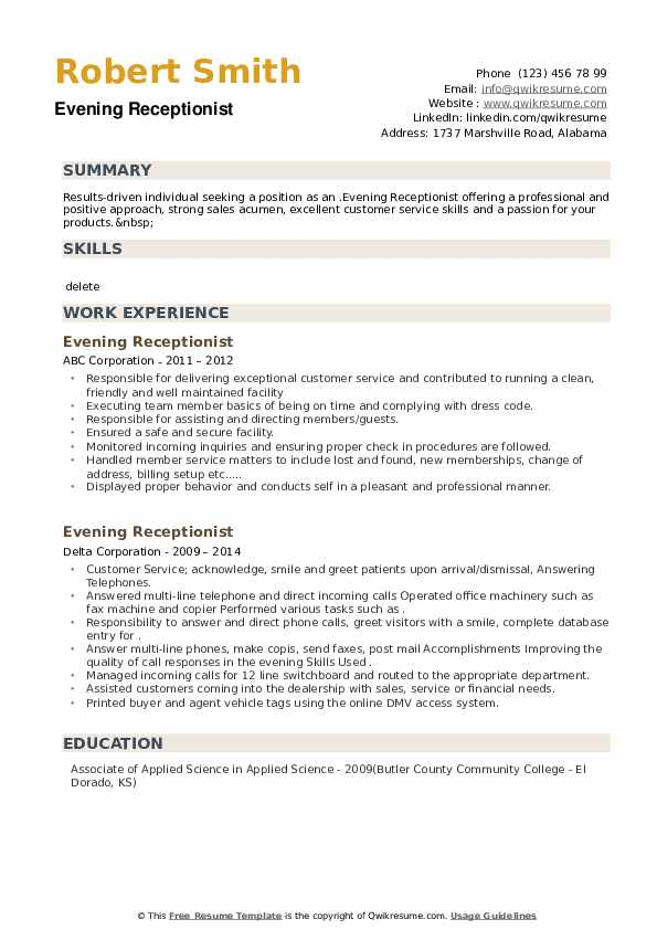 Evening Receptionist Resume example