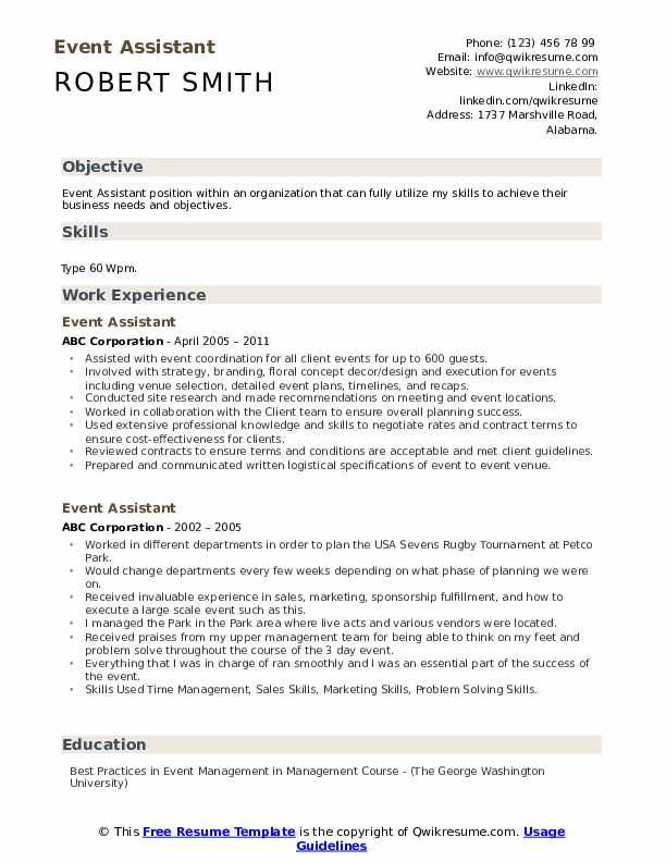 Event Assistant Resume Format