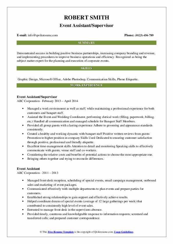 Event Assistant/Supervisor Resume Format