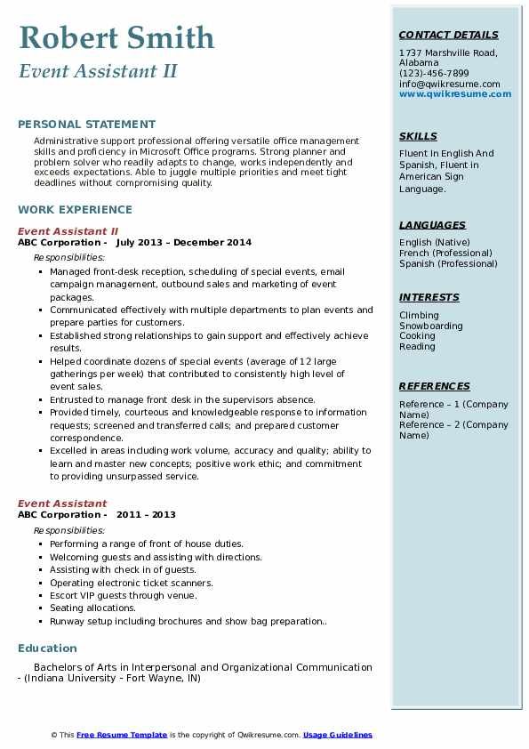 Event Assistant II Resume Sample