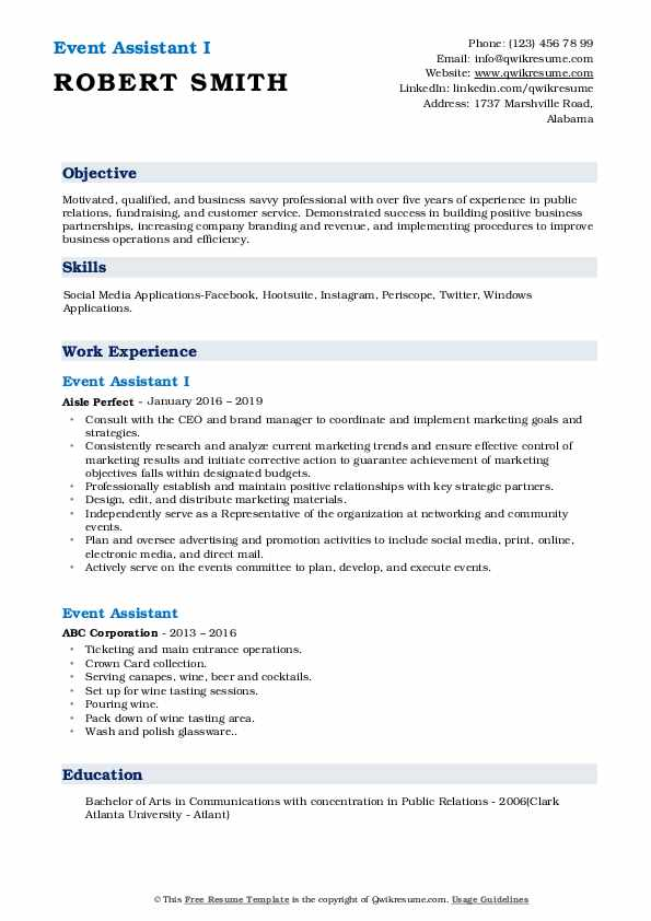 Event Assistant I Resume Model