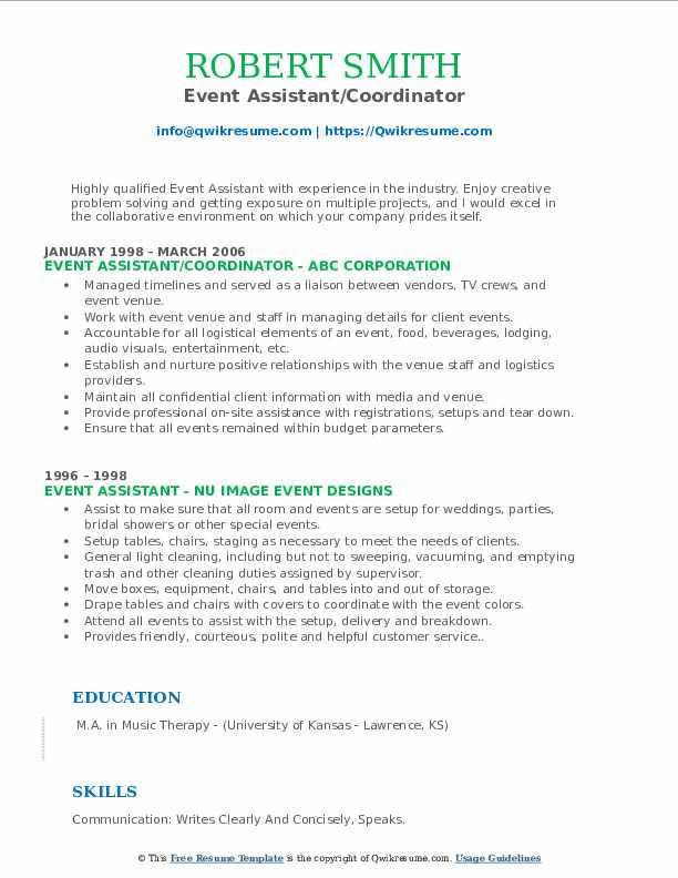 Event Assistant/Coordinator Resume Example