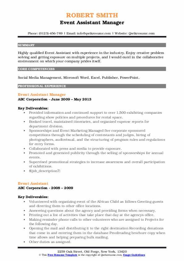 Event Assistant Manager Resume Example