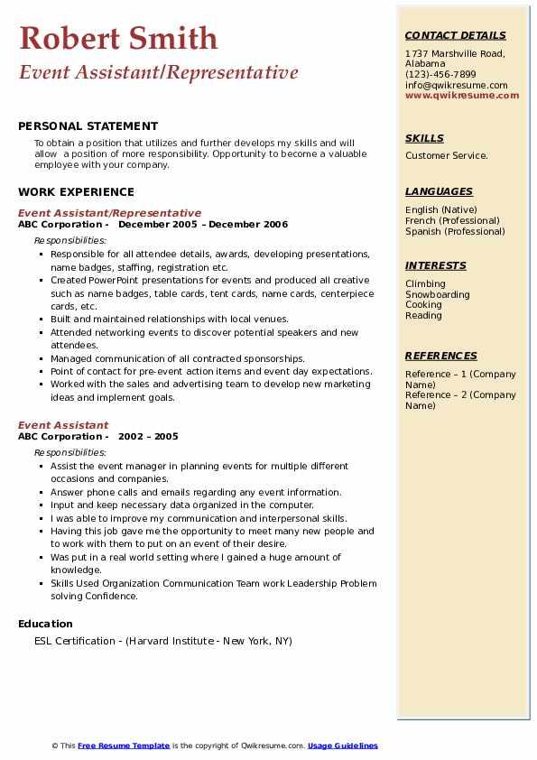 Event Assistant/Representative Resume Example