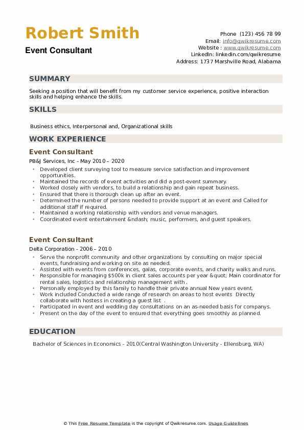 Event Consultant Resume example