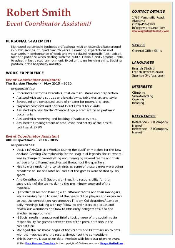 Event Coordinator Assistant Resume example