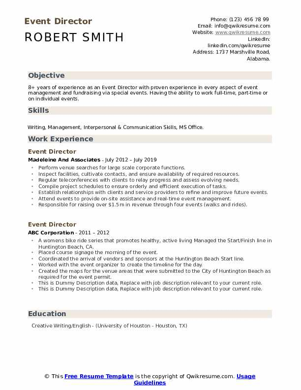 Event Director Resume example