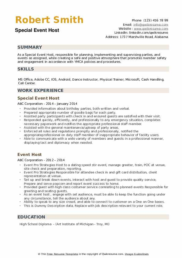 Event Host Resume example
