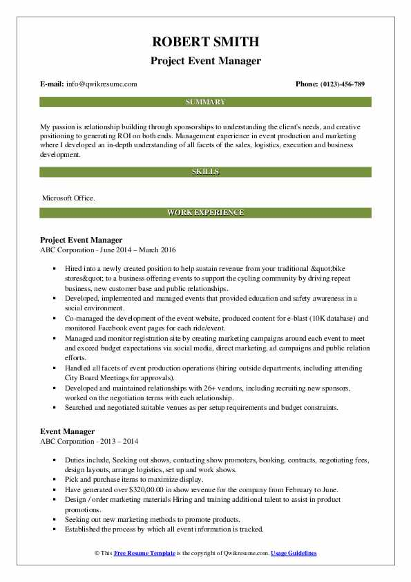 Project Event Manager Resume Format