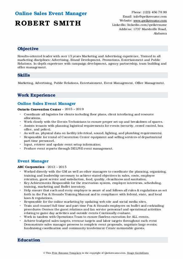 Online Sales Event Manager Resume Format
