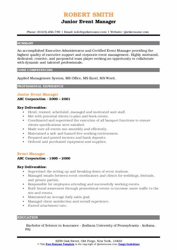 Junior Event Manager Resume Example