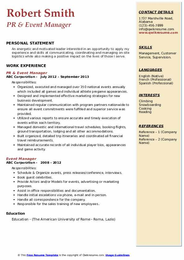 PR & Event Manager Resume Template