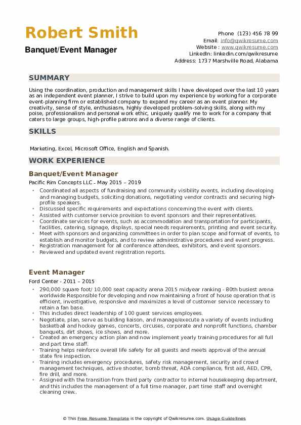 Banquet/Event Manager Resume Template