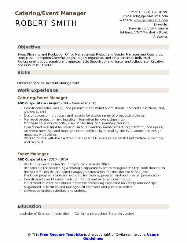 Catering/Event Manager Resume Template