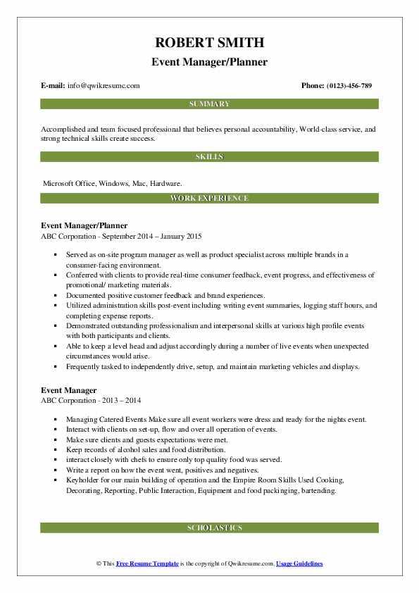 Event Manager/Planner Resume Format