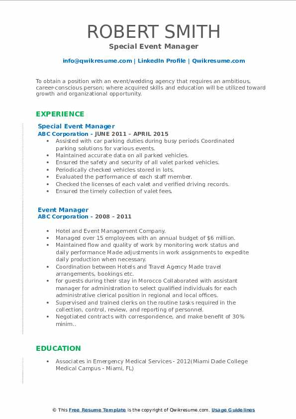 Special Event Manager Resume Example