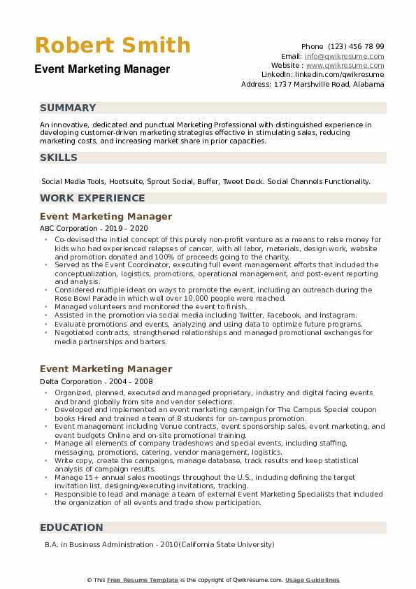 Event Marketing Manager Resume example