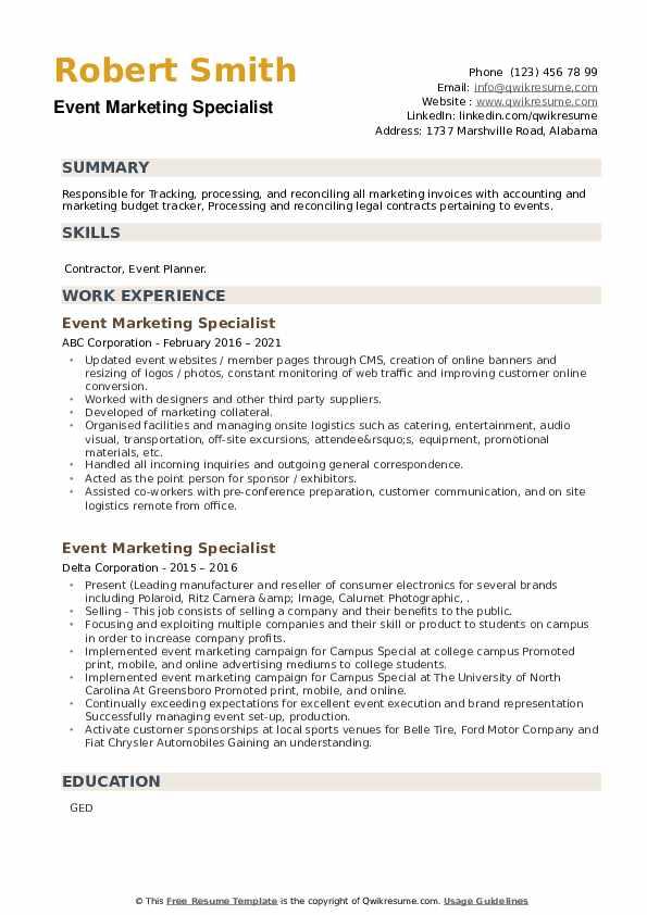 Event Marketing Specialist Resume example