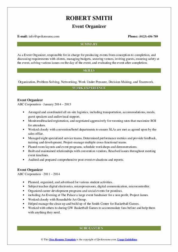 event organizer resume samples  qwikresume
