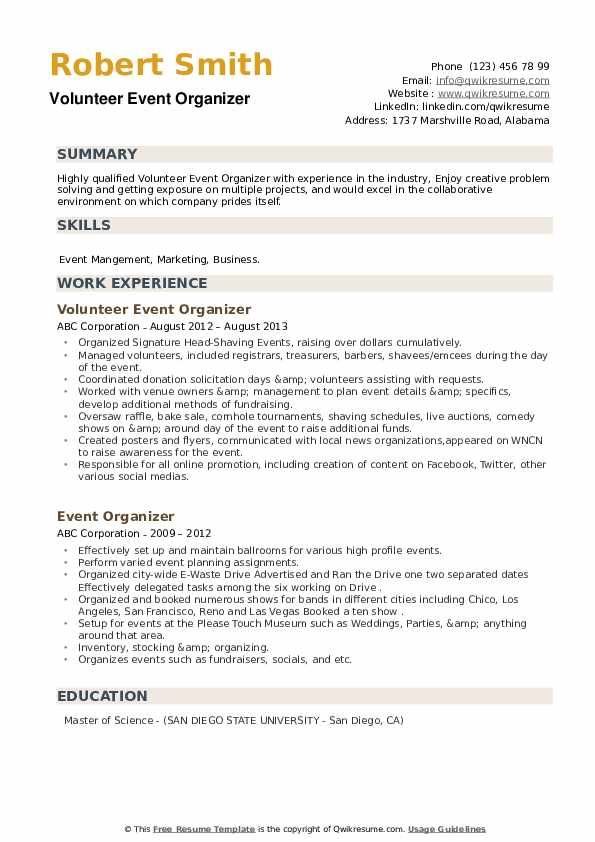 Event Organizer Resume example