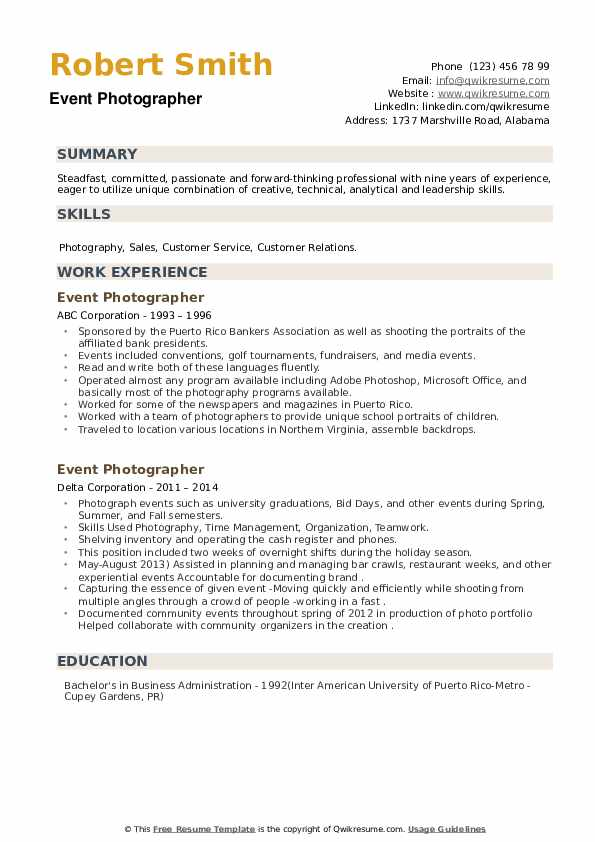 Event Photographer Resume example