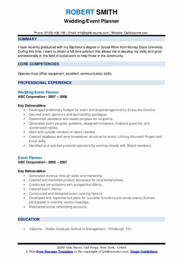 Wedding/Event Planner Resume Format