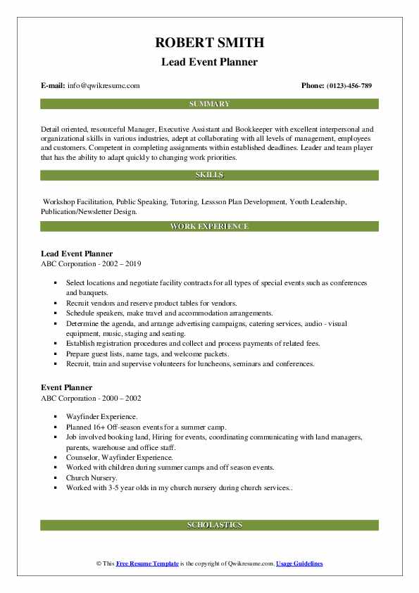 Lead Event Planner Resume Example