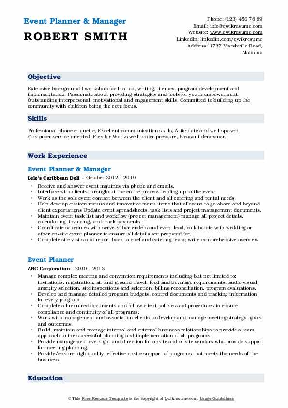 Event Planner & Manager Resume Example