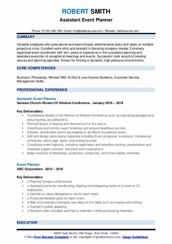 Assistant Event Planner Resume Template
