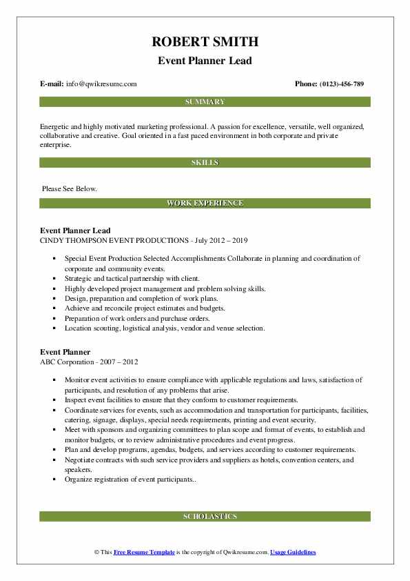 Event Planner Lead Resume Model