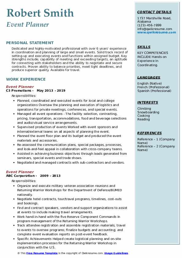 event planner resume samples