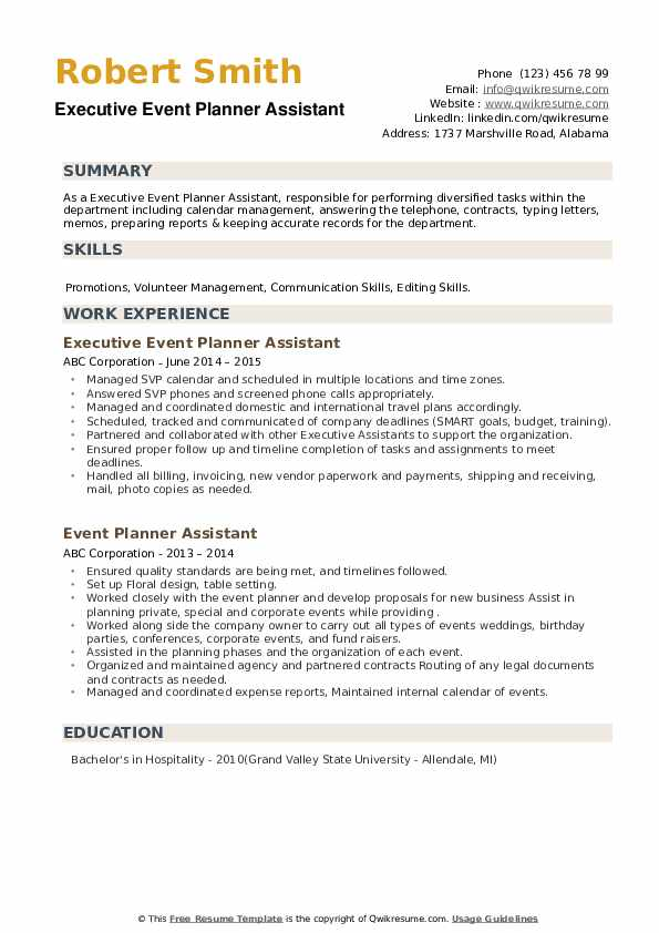 Event Planner Assistant Resume example