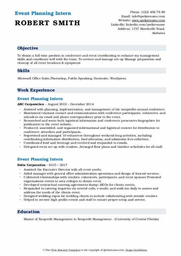 Event planning internship resume sample for resume for job