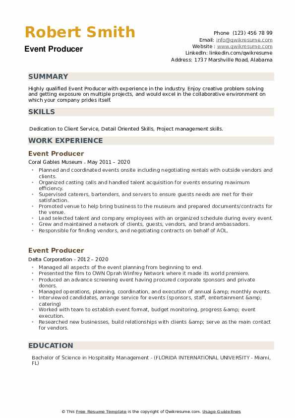 Event Producer Resume example