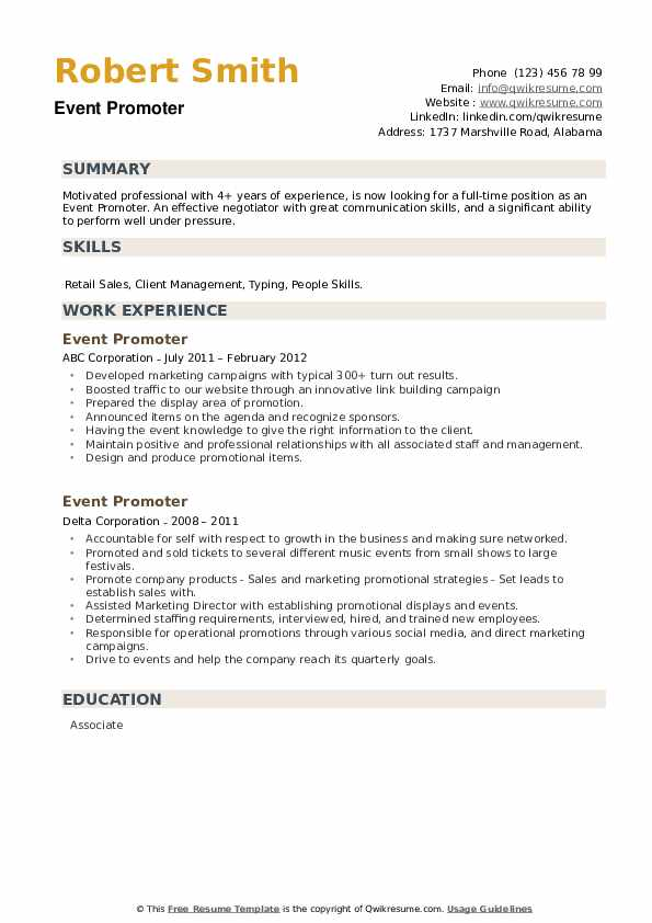 Event Promoter Resume example