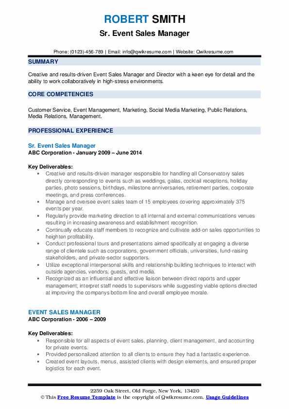 Sr. Event Sales Manager Resume Format