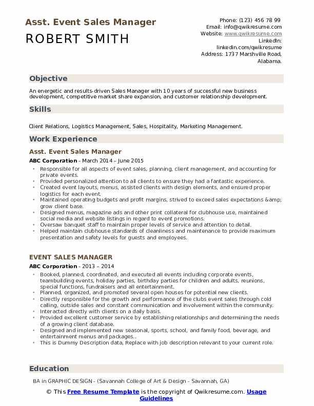 Asst. Event Sales Manager Resume Model