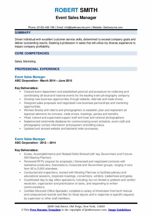 Event Sales Manager Resume example