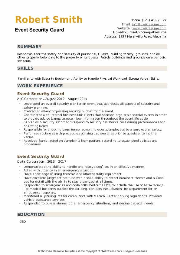 Event Security Guard Resume example