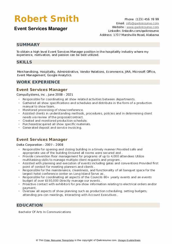 Event Services Manager Resume example